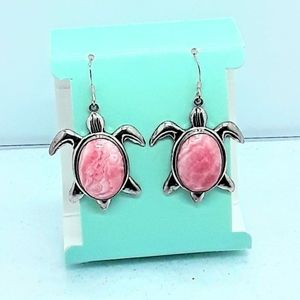Earrings 925 Cute Turtles with Pink Agate Stone